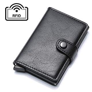 UNYU Credit Card Holder RFID Blocking Wallet Slim Wallet PU Leather Vintage Aluminum Business Card Holder Automatic Pop-up Card Case Wallet Security Travel Wallet (Black)