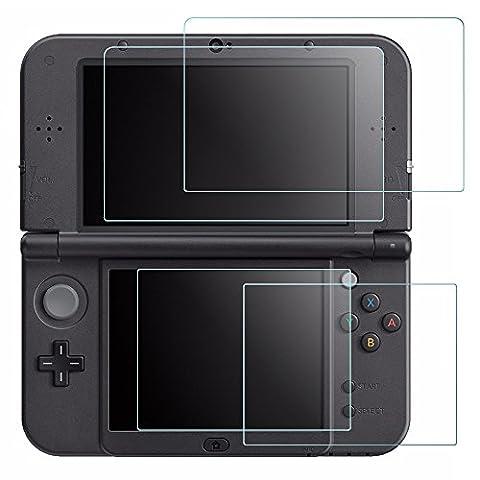 Films de Protection d'Ecran pour Nintendo New 3DS XL, AFUNTA 2 Pièces de Films en Verre Trempé pour Écran Supérieur et 2 Films en PET Plastique pour Écran Inférieur, 3DSXL Accessoire