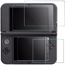Protector de Pantalla para New Nintendo 3DS XL, AFUNTA 2 Packs Cristal Templado para la Pantalla Superior y 2 Packs HD Claro los Films de PET para la Pantalla Táctil Inferior, 3DSXL Screen Protector Accesorio