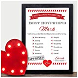 Best Boyfriend Husband Partner Valentines Love Award Contract Keepsake Gift - PERSONALISED ANY NAMES for Anniversary, Birthday - Black or White Framed A5, A4, A3 Prints or 18mm Wooden Blocks