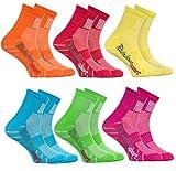 Rainbow Socks - 6 Paar Sportsocken für KINDER - Atmende BAUMWOLLE - zum Laufen, Radfahren und anderen Sportarten - Orange Rot Gelb Blau Grun Rosa Pack  Größen: 30-35, Made in EU