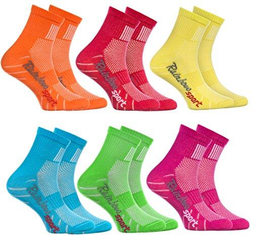 Rainbow Socks - 6 Paar Sportsocken für KINDER - Atmende BAUMWOLLE - zum Laufen, Radfahren und anderen Sportarten - Orange Rot Gelb Blau Grun Rosa Pack| Größen: 24-29, Made in EU