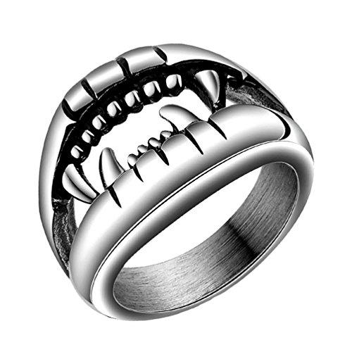 PAURO Herren Edelstahl 14mm Retro Teufel Farbe Punk Ring FüR Biker Versprechen Hochzeit GrößE (Kostüm Männlich Teufel)