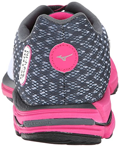 Mizuno Wave Rider 18 Synthétique Chaussure de Course White-Dark Pink-Grey