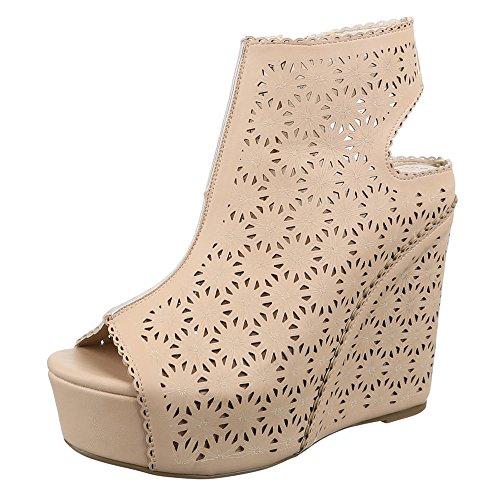 Damen Schuhe, 0-85, SANDALETTEN KEIL PLATEAU PUMPS Beige