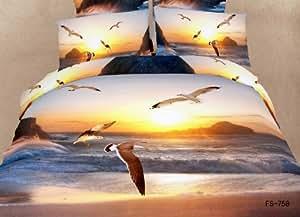 joybuy Océan mouettes et océan Parure de lit imprimé 3D Housse de couette Jeux 3D ciel Mouette Parure de lit 4pièces Reine 100% coton Taille couette non inclus