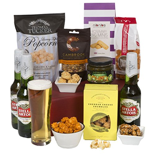 La cesta de cerveza clásica - Cestas de cerveza para Navidad y canastos de regalo para hombre - Cerveza de Stella Artois con regalos de comida gourmet para él