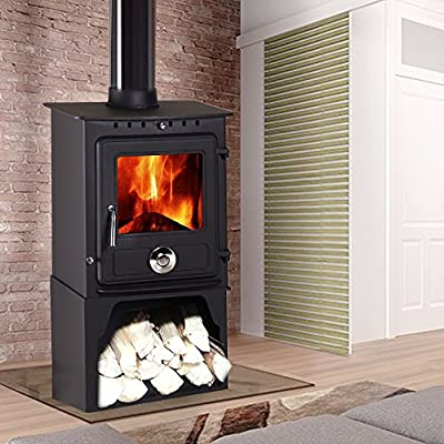 Lincsfire New Reepham 8KW Contemporary Woodburning Stove Multi Fuel Wood Burner Multifuel Fire Place with Log Store
