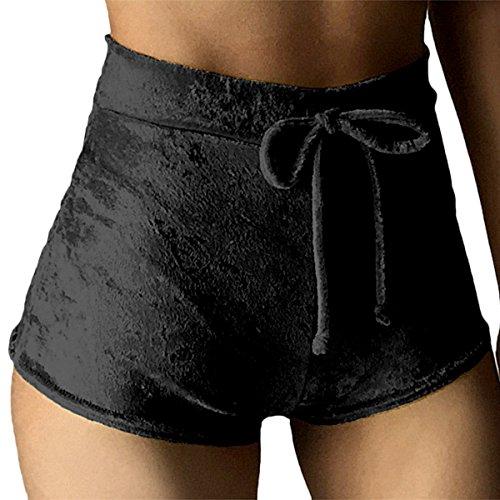 TININNA Donne Comodi Usura esterna Pantaloncini di alta vita Velluto oro Pantaloncini corti con elastico coulisse Pantaloncini da corsa Yoga cintura Hot Pants Nero XL