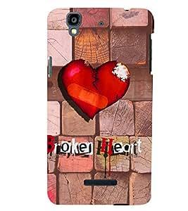 PrintVisa Romantic Love Broken Heart 3D Hard Polycarbonate Designer Back Case Cover for YU Yurekha