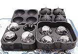 Confezione da 2stampi per cubetti di ghiaccio a palla in silicone flessibile– 4palline da 4,5cm per whisky, cocktail, bevande, ottimi anche per caramelle, budini, gelatine, latte, succhi, cioccolato