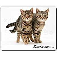 Brown Tabby Cats 'Soulmates' Tappetino mouse del computer pad regalo di natale