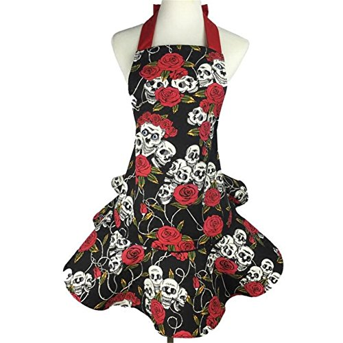 51jNtoyf3IL. SS500  - Valink Rose skull pattern Cotton Kitchen Apron for Women, Chef Cook Cooking Apron,BBQ Party Bib Dress Apron, Household Cleaning Tools Accessories, Work Apron for Waitress Girls