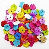 100×Chytaii Knöpfe Blume Kleidungsknöpfe Bastelknöpfe Harz Buttons Zweiloch Knöpfe für Nähen Basteln Scrapbooking gemischte Farbe