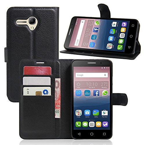 """Manyip Téléphone Coque - PU Cuir rabat Wallet Housse [Porte-cartes] multi-Usage Case Coque pour pour Alcatel One Touch Pop3 Pixi 3(4.5"""") Classique Mode affaires Style(JFC2-10) B"""