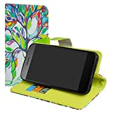 LiuShan Vodafone Smart E8 Hülle, Brieftasche Handyhülle Schutzhülle PU Leder mit Kartenfächer und Standfunktion für Vodafone Smart E8 Smartphone (mit 4in1 Geschenk verpackt),Love Tree