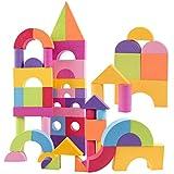 #10: NF&E Colorful EVA Foam Building Blocks Kids Toddler Construction Toy Heart Printed - 50 pcs