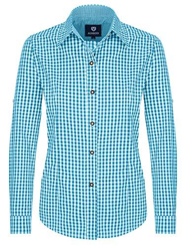 Almbock Trachten-Bluse Damen kariert oder weiß | Viele Modelle von Größe 34-44 in rot, dunkelblau, lila, beere, grün, pink (44, Türkis)
