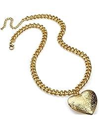 Grabado Acabado oro corazón con bisagras camafeo colgante 46cm cadena gargantilla collar