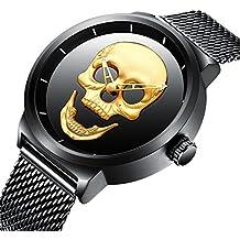 Relojes para Hombres con Dial Grande Negro Reloj Lujo Hombre con Correa de Malla Banda de