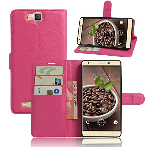 Tasche für Cubot H2 Hülle, Ycloud PU Ledertasche Flip Cover Wallet Case Handyhülle mit Stand Function Credit Card Slots Bookstyle Purse Design Rose Red