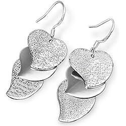 Hosaire Pendientes de Plata de Arena de destello en forma de corazón Pendientes de Botón Nuevo Estilo para Mujeres de la Joyería Accesorios