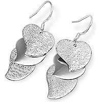 lumanuby para mujer niñas pendientes moda lindo en forma de corazón de cristal colgante de plata con brillantes pendientes de tuerca con dibujo de corazón Dangle gancho pendientes gift-2pcs