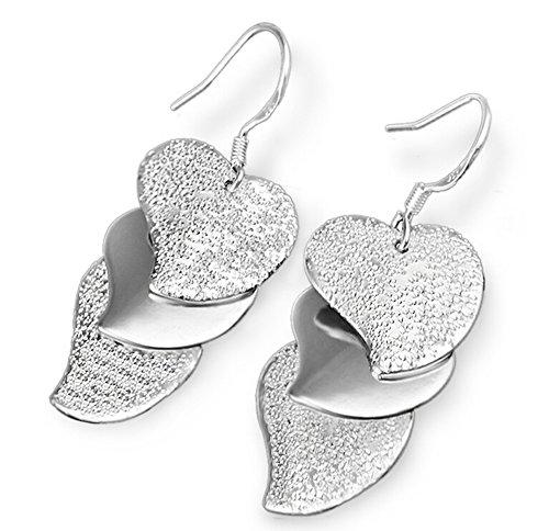 spaufu 1Paar Ohrring Triplett Herzform Design Anhänger Ear Haken Frauen Mädchen Schmuck Ornament Zubehör