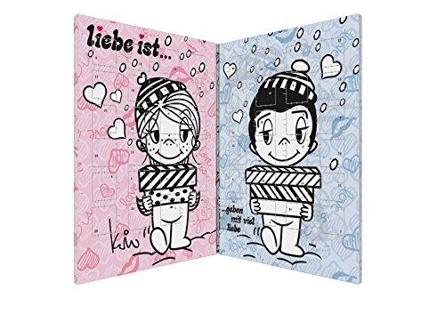 Liebe ist ... süßer Partner Adventskalender für Pärchen mit 150g Vollmilchschokolade im liebevollen Design