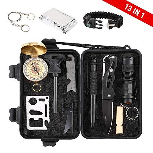 OCDAY 13 in 1 Survival Kit Hochwertige Survival Kits Survival Outdoor Gear Kit Set mit Überlebensarmband Notfalldecke Drahtsäge Feuer Starterpfeife Überlebensmesser Taschenlampe Tactical Pen etc. (Auto Für Survival-kit)