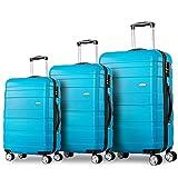 Flieks Kofferset Hartschalen 3 teilig Reisekoffer 3 TLG. Zwillingsrollen Trolleys mit Zahlenschloss, Flieks Gepäck-Sets mit 4 Doppel-Rollen, Set-XL-L-M