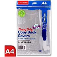 Pack of 5 Book Covering -Heavy Duty Re-usable Slip on Covers-(Fit A4 Exercise Books) CLEAR