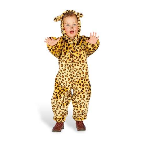 Kinder Leopard Kostüm Overall Tier Kostüm Fasching Karneval Kinder Kostüm Kleid bis mit Kapuze Ohren Größe 92, 104, 128 104 cm braun