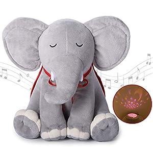 Momcozy Einschlafhilfe für Babys und Erwachsene, Tragbarer Elefant aus Plüsch Baby Spieluhr mit 15 Beruhigende Musik, 3…