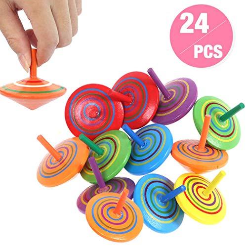 annhao Trottola in Legno, 24 Pezzi Mini Trottola Colorate in Legno Colorati Artigianali Set per Bambini Giocattolo Partito, Compleanno del Bambino (6 Colore)