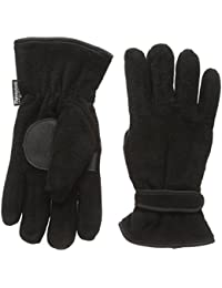 Mens Black Thermal Polar Fleece Gloves with 40g Thinsulate and Palm Gripper