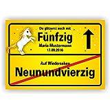 Ortsschild Bild Geschenk Fest Geburtstag personalisiert Einhorn Du glitzerst auch mit 50