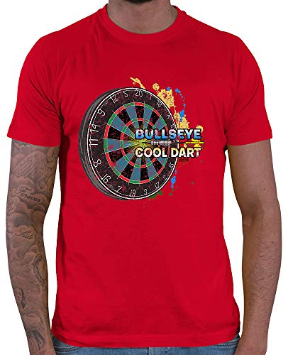 HARIZ  Herren T-Shirt Bullseye Cool Dartscheibe Dart Darten Dartscheibe Sport Fun Trikot Inkl. Geschenk Karte Rot XL