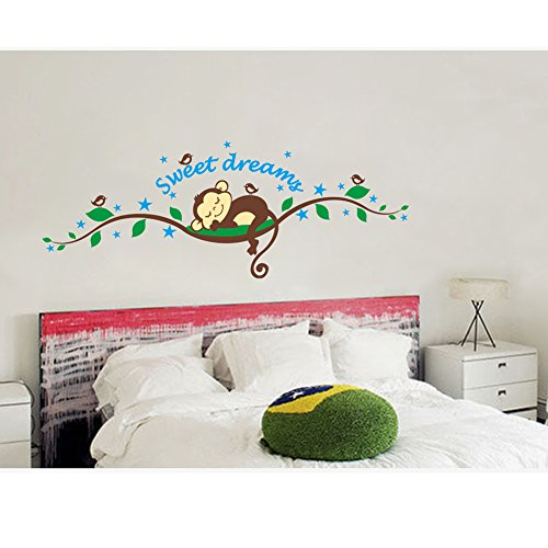 Sweet Dreams Sleeping Monkeys and Tree Branch Birds Baby Wall Sticker Decors for Boys and Girls Nursery Room Decoration