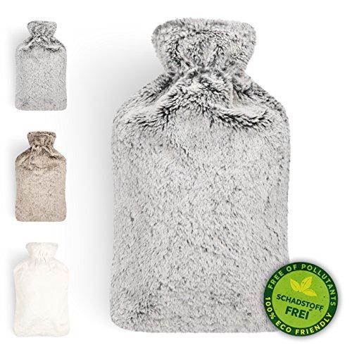 Wärmflasche Mit Samtweichem Kuschelbezug Für Gemütliche Abende|Farbe: Grau |2 Liter Fassungsvermögen |Flauschig, Zarte Kinderwärmflasche | Geprüft Und Frei Von Schadstoffen |von Blumtal