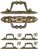 FUXXER® - 4x Antik Griffe klappbar | Schubladen, Truhen, Schränke, Kommoden, Küchen | Antik Bronze Vintage Design 10,5 x 2cm | 4er Set mit Schrauben