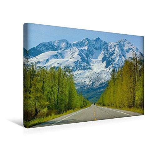 Calvendo Premium Textil-Leinwand 45 cm x 30 cm Quer, Richardson Highway | Wandbild, Bild auf Keilrahmen, Fertigbild auf Echter Leinwand, Leinwanddruck: Alaska - Lockruf der Wildnis Natur Natur - Richardson 30