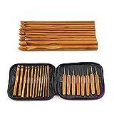 The Best Kingdom 20 Stück Bambus Häkelnadel Set Handle DIY Holz Stricknadeln mit Fall 1-10mm Metrische Größen