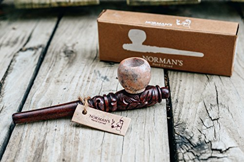 Price comparison product image Norman's Wooden tobacco & herb SOAPSTONE Stone Bowl smoking pipe with carb (hole) Hand made carved high quality Rosewood Engraved decorations 13cm