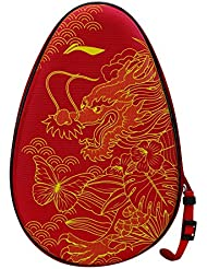 LI Ning–Raqueta de tenis de mesa móvil del Equipo–Hard Cover National Small, rojo