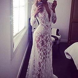 QIYUN.Z Encaje Blanco Profunda V Cuello De Las Mujeres Coctel Ver A Traves Vestido Largo Maxi Vestido