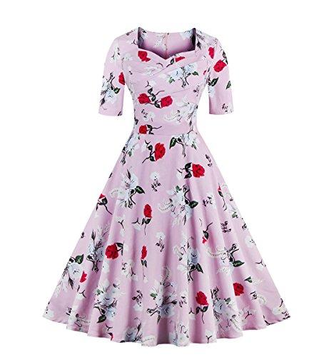 Dissa M131618D Vintage pin-up 50's robe de soirée,bal cocktail Rockabilly Swing,S-XXXXL Rose