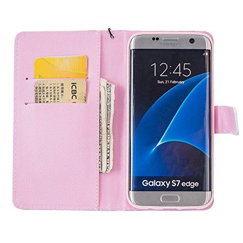 Custodia Galaxy S7, Samung S7 Cover, Galaxy S7 Flip Cover, Custodia Samsung Galaxy S7 Cover, Cozy Hut Retro Modello di disegno del fumetto Design Con Cinturino da Polso Magnetico Snap-on Book style In farfalla sogno