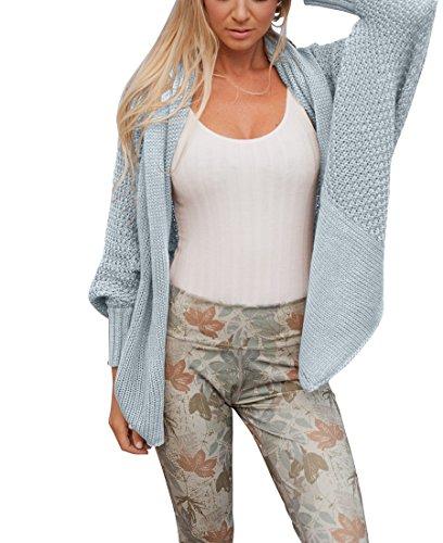 Tricoté Cardigan Femmes Manches Longues Oversized Manteau Unicolore Chic Manches Chauve Souris Chandail Veste Lâche Outwear Bleu