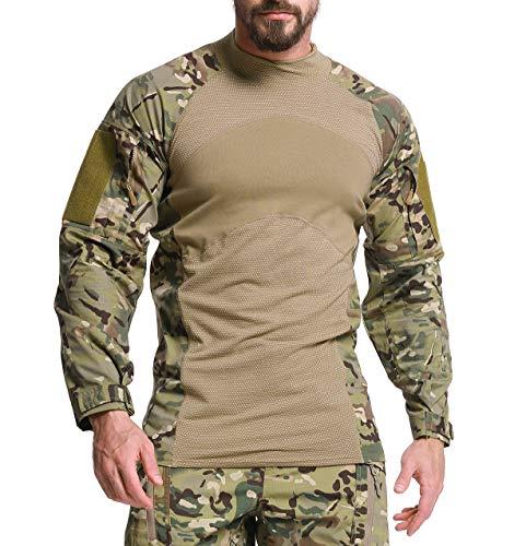KEFITEVD Herren Taktisch Hemd Langarm Männer Sommer Tactical Shirt Stehkragen Combat Hemd BDU Militär T-Shirt Slim Fit Oberteil Funktionsshirt CP L (Etikett: 2XL) -